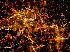 This image taken on Dec. 8, 2012,<br /> with the European Space Agency, or<br /> ESA, NightPod camera mount, shows<br /> the city of Li�ge, Belgium, as it<br /> appears at night from the vantage<br /> point of the International Space<br /> Station. (ESA/NASA)&nbsp;&nbsp;<br /> <a href='http://www.nasa.gov/images/content/723960main_image1_XL.jpg' class='bbc_url' title='External link' rel='nofollow external'>View large image</a>