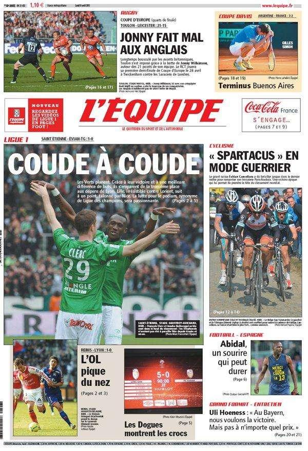 L'Equipe Lundi 08 avril 2013