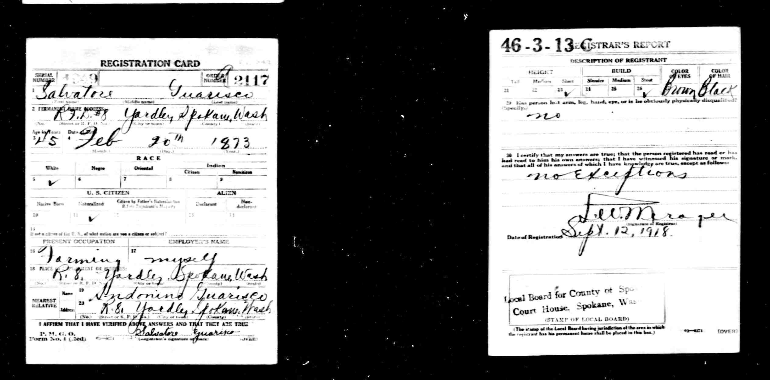 Italiangenealogy searching for guarisco digerolormo sicily salvatore guarisco 45 yardley spokane wa born 20 feb 1873 naturalized xflitez Choice Image