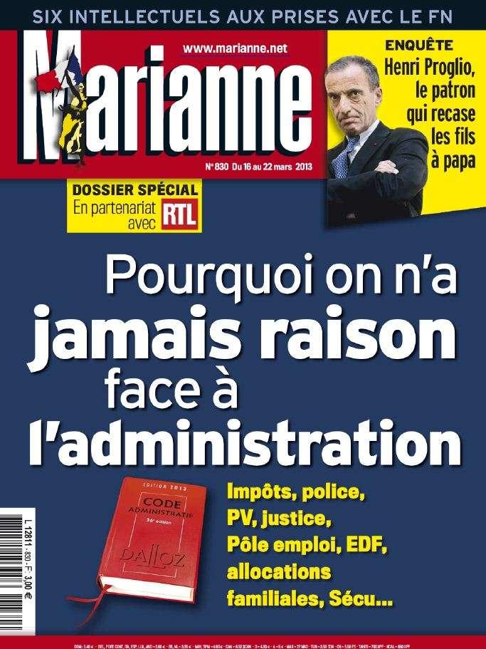 Marianne N°830 du 16 au 22 Mars 2013