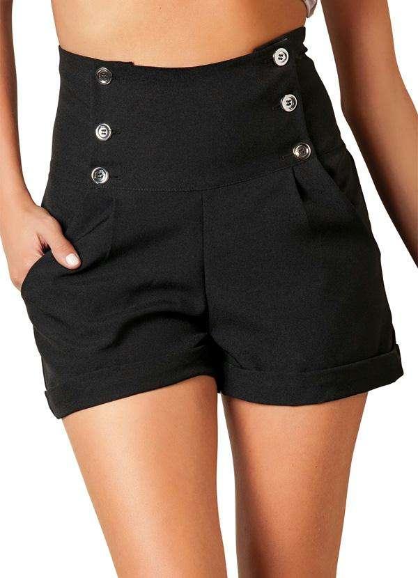 bermuda feminina preta cintura alta